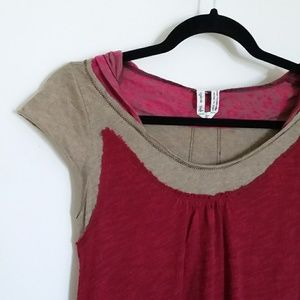Free People Sz S Tunic Top Berry Slub Knit Hoodie
